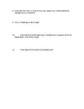 Othello Act IV Questions
