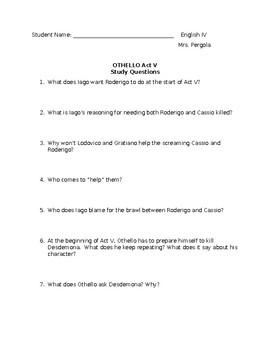Othello Act V Questions