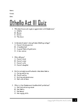Othello Act 3 Quiz