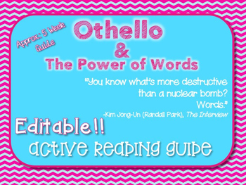 *Editable*** Othello Active Reading Guide