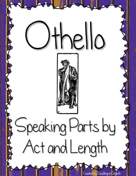 Othello Speaking Parts by Act, Scene, and Length! Easy Assigning Prep!