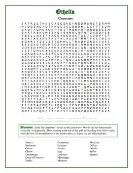 Othello: Character Word Search with Hidden Message--Unique!