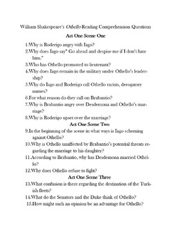 Othello Comprehension Reading Questions & Answers