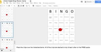 Othello Digital Bingo Review Game (Google Drive Edition)