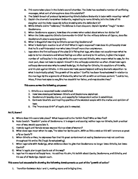 Othello Group Project, Discussion Questions, and Important Ideas