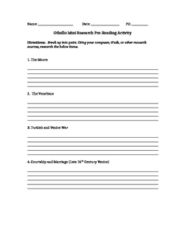Othello Mini-Research Project