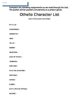 Othello Personal Reading Packet