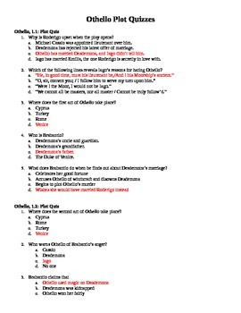 Othello Plot Quizzes (All Acts)