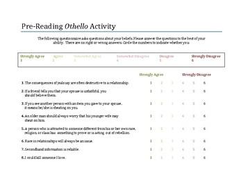 Othello Pre-Reading Activity