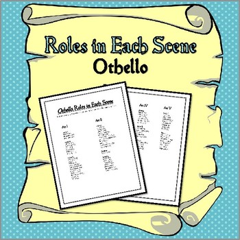 Othello: Roles in Each Scene