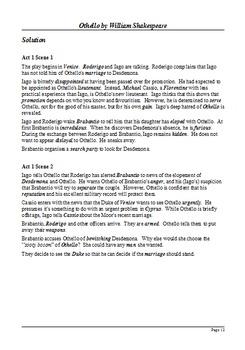 Othello - Plot Summary as Cloze Test (Scene by Scene)