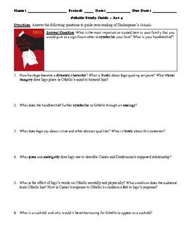 Othello Study Guide Packet