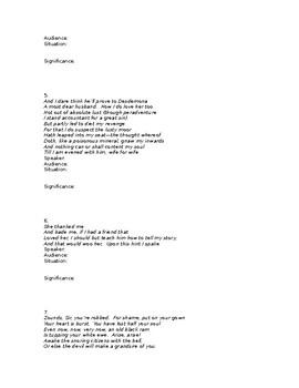 Othello Test Quote Explication