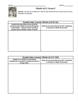 Othello Worksheets with Double-Entry Journals and Guiding Questions