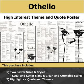 Othello by Shakespeare - Visual Theme and Quote Poster for Bulletin Boards