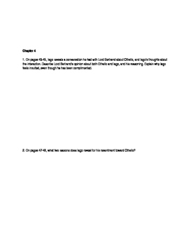 Othello novel Julius Lester Chapter and Discussion/Analysis questions