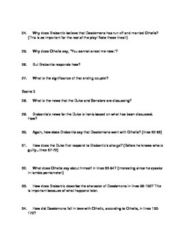 Othello Act 1 reading guide questions