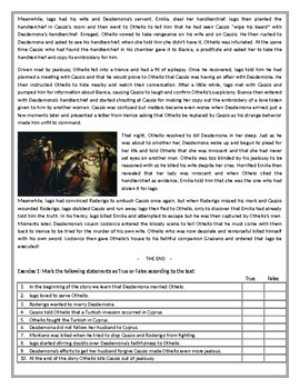 Othello - the story -  Reading Comprehension