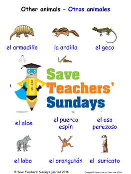Other Animals in Spanish Worksheets, Games, Activities and Flash Cards