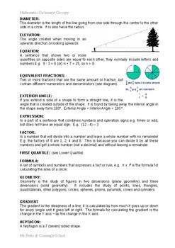 Maths: Glossary / KEYWORDS (ALL Topics) - Higher Focus