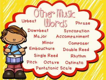 Other Music Vocabulary Posters - Color, black & white, PLUS editable versions
