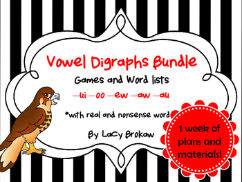 Other Vowel Digraphs Game and Wordlists ew, ui, oo, au, aw, oo