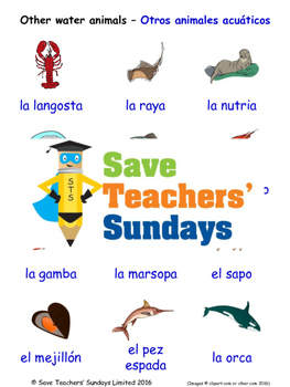 Other Water Animals in Spanish Worksheets, Games, Activities and Flash Cards