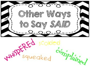 Other Ways to Say Said Poster