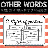 Other Words for Addition, Subtraction, Multiplication & Division (Posters)