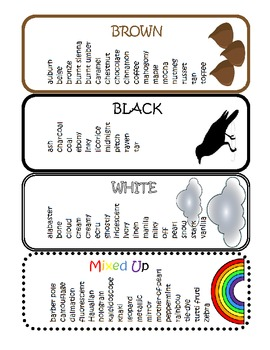 Other Words for Colors Key Ring