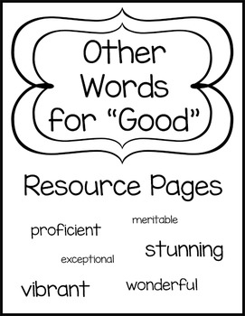 """Other Words for """"Good"""" Resource Pages"""