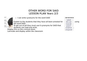 Other Words for SAID - A criminal Poster