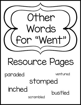"""Other Words for """"Went"""" Resource Pages"""