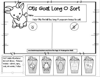 Otis Goat Long O Sort~ Cut & Paste Worksheet