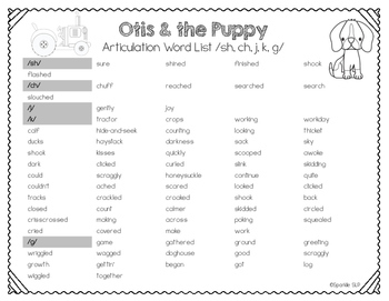 Speech Language and Literacy Otis and the Puppy Quick Prep Book Companion