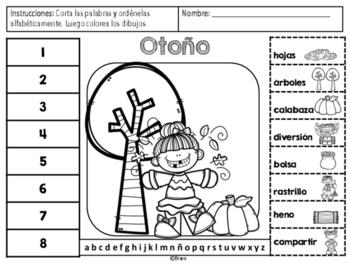 Otoño Orden Alfabético- Fall ABC order in Spanish