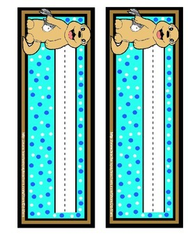 Otter cute blue turquoise brown nameplate name plate