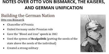 Otto von Bismarck Blood and Iron Speech Worksheet