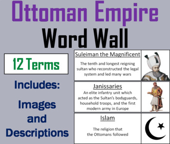 Ottoman Empire Word Wall Cards
