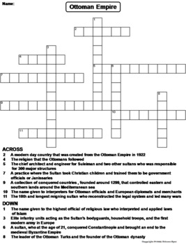 Ottoman Empire Worksheet/ Crossword Puzzle