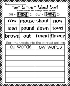 Vowel Diphthongs ou and ow | Diphthong Activities | Diphthong Center