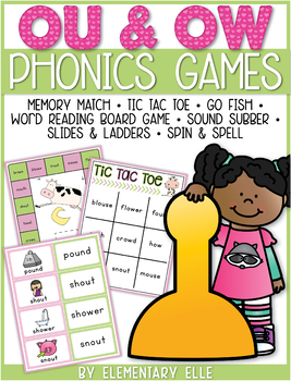 Ou and Ow Dipthongs Phonics Games {Literacy Centers}