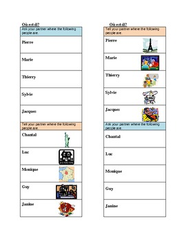 Endroits (Places in French) Où est Speaking activity 2