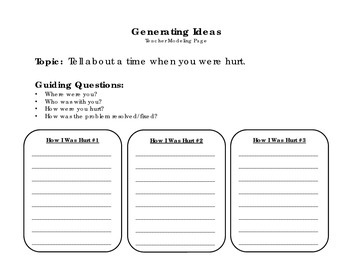 Ouch!  A Time I Was Hurt - Personal Narrative Writing Packet