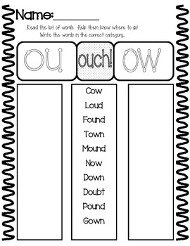 Ouch!  Ou & Ow sound
