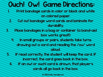 Ouch! Ow! Game and Sort (ou and ow)