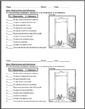 Quiz:  Observations and Inferences