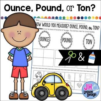 Ounces Pounds or Tons? Cut and Paste Sorting Activity