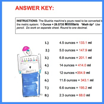 Ounces to Milliliters Conversion Practice   Worksheet Handout Quiz with Key