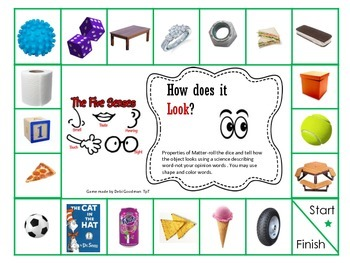 Our 5 Senses with Properties of Matter-5 Game Boards